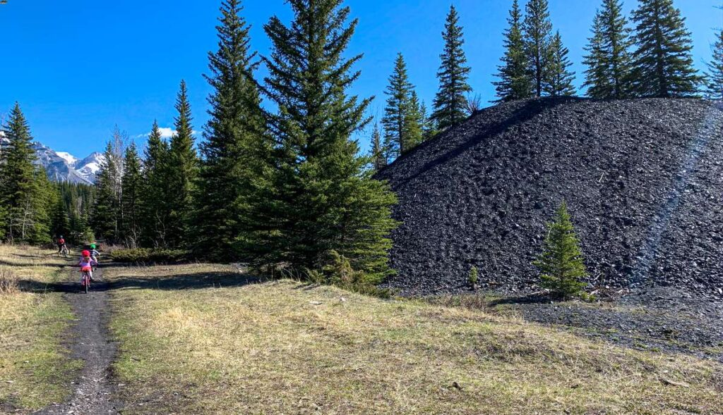 Kid-friendly mountain bike trail in Banff from Cascade Ponds to Bankhead abandoned coal mine town