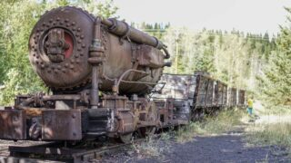 1901 Compressed air locomotive at the ghost town in Bankhead, Alberta