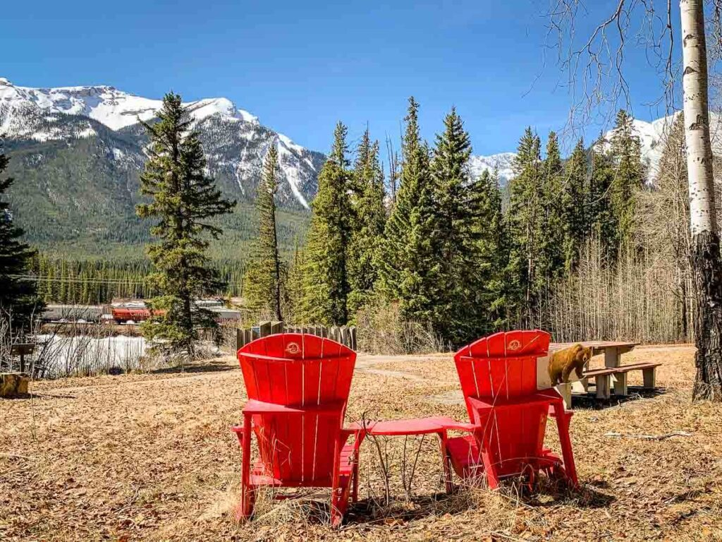 Banff Red Chairs at Mule Shoe picnic area in Banff