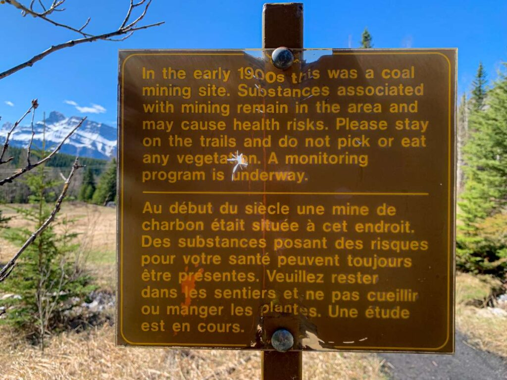 A safety sign greeting visitors to the Bankhead, Alberta ghost town