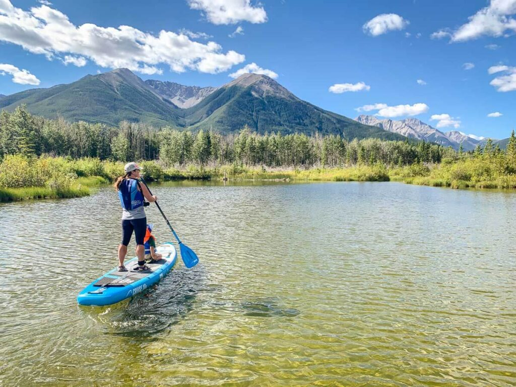 stand up paddle boarding on Vermilion Lakes in Banff