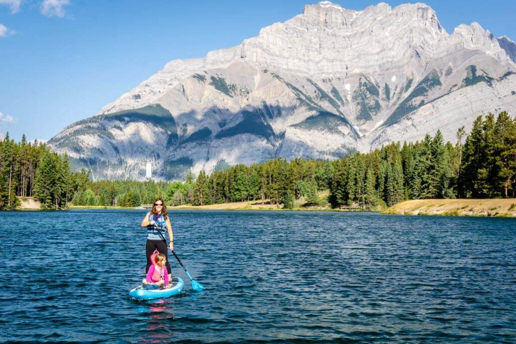stand up paddle boarding in Banff National Park - Johnson Lake