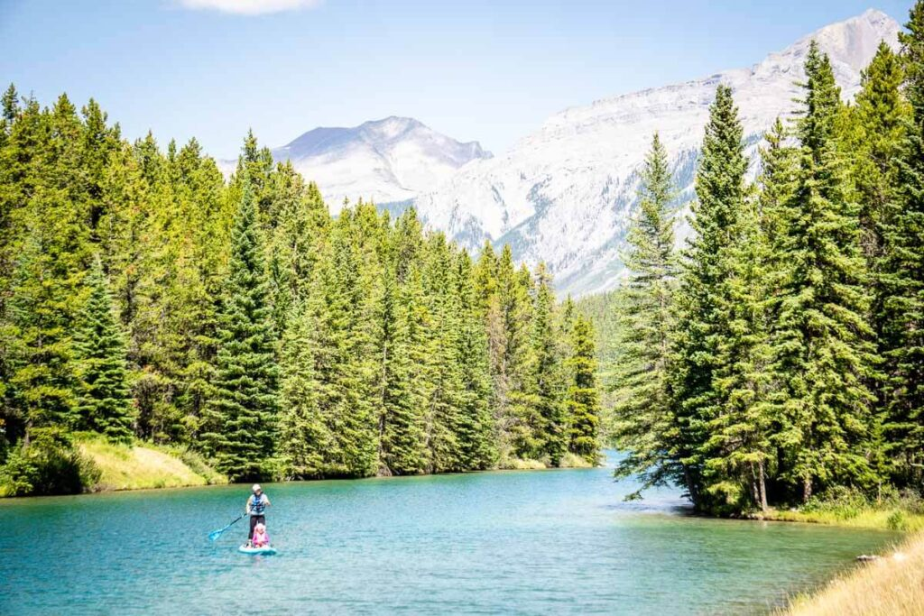 stand up paddle boarding on Two Jack Lake in Banff National Park