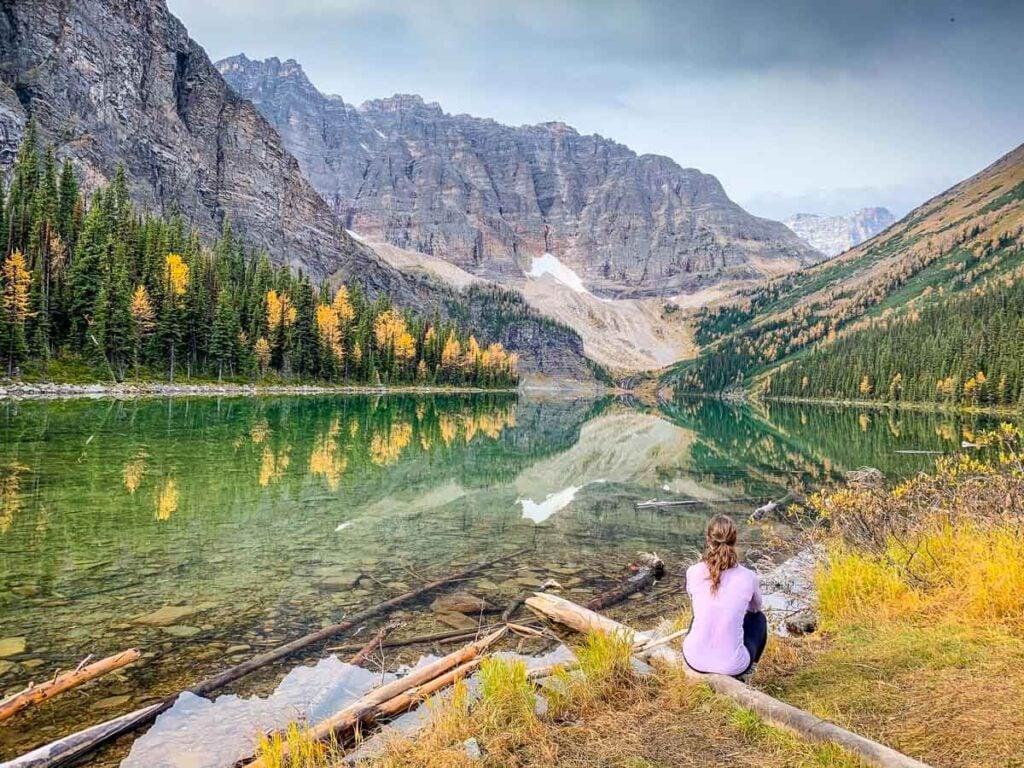 Sitting at Taylor Lake in Banff National Park