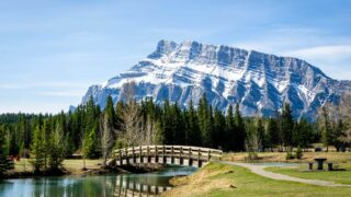 view of Cascade Ponds Picnic Area and Mt Rundle