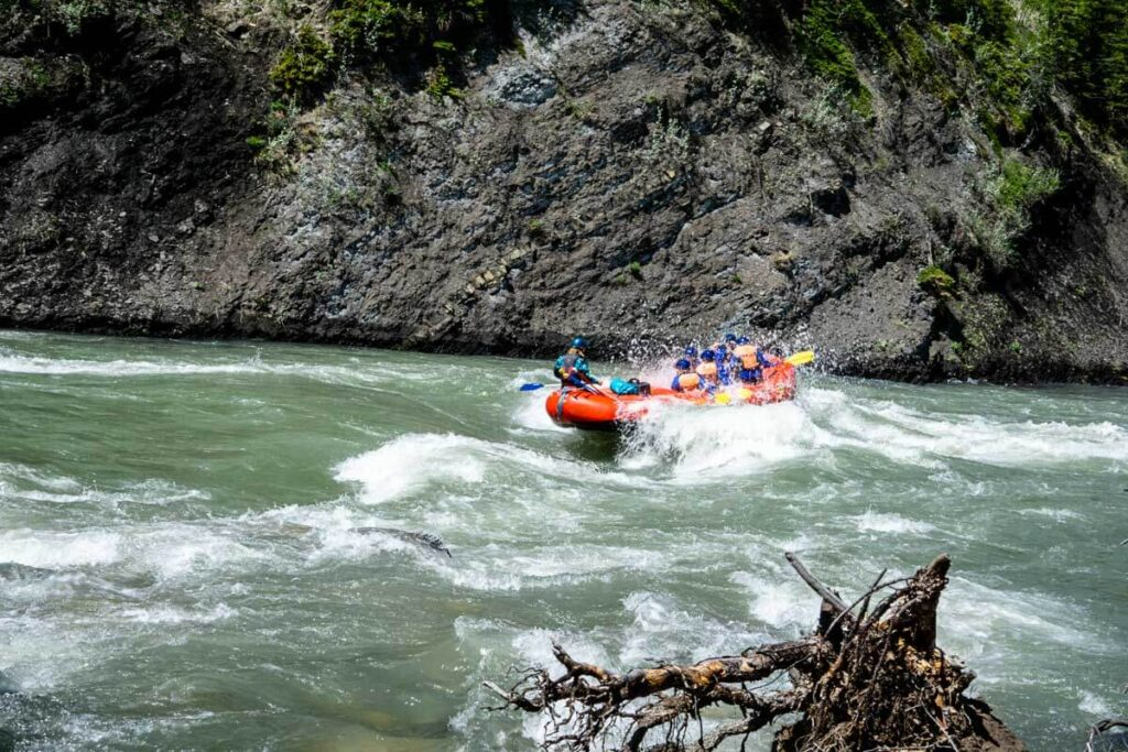 Whitewater rafting on Kananaskis River as seen from Widow Maker Trail
