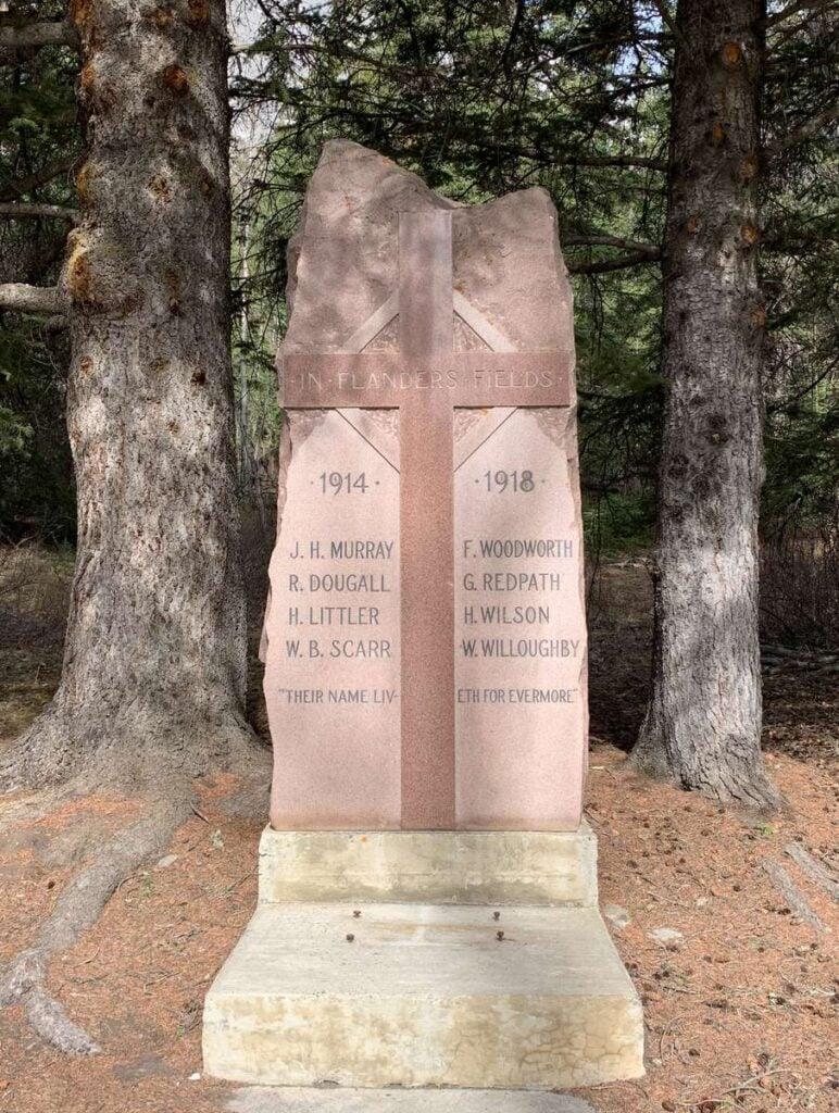 a WWI memorial honoring Bankhead, Alberta residents on the Minnewanka Loop in Banff, Canada