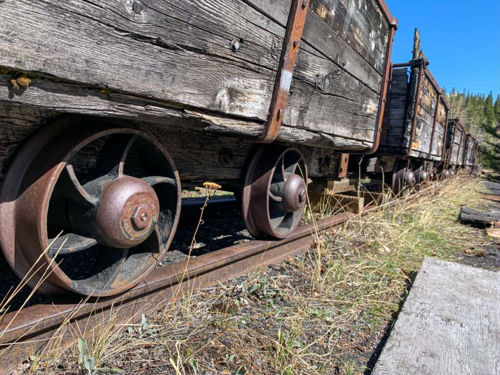train cars from a 1901 coal mine train located at the Bankhead ghost town in Banff, Canada