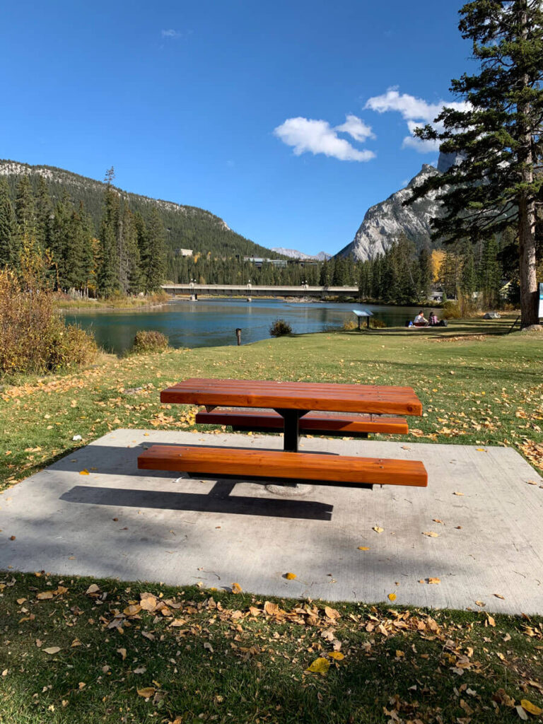 picnic by the river in Banff