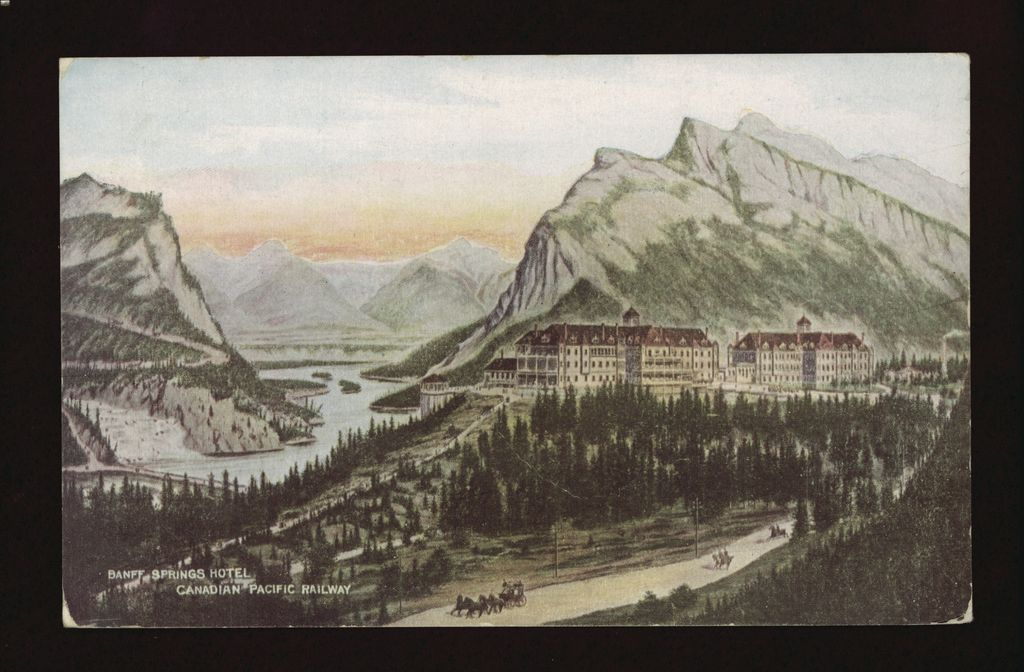 A 1909 promotional painting of the Banff Springs Hotel in front of the Bow River and Mount Rundle
