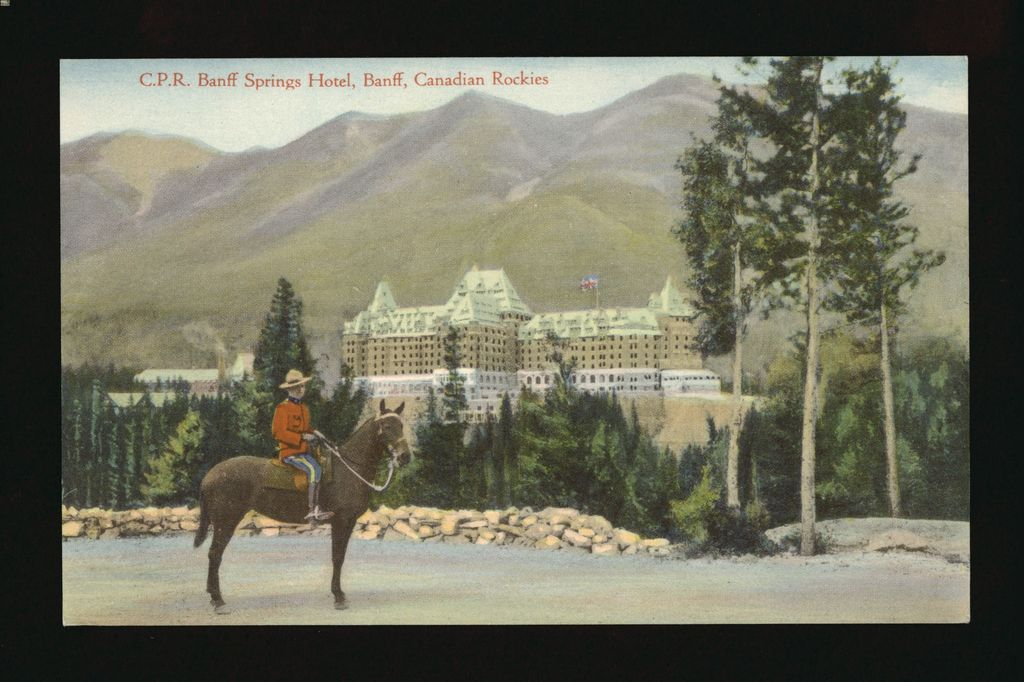 A painted image of a Royal Canadian Mounted Police officer in front of the Banff Springs Hotel, Canada