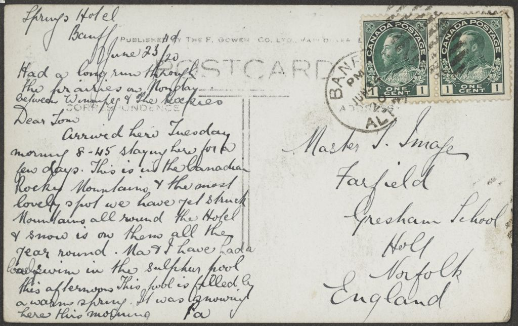 Message written on back of 1920s Banff Springs Hotel Postcard. 1920 Canada 1 cent stamp