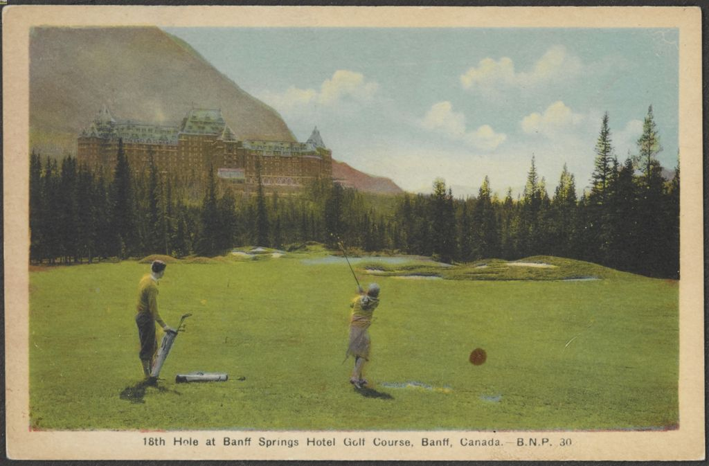 1930s image of 18th hole at Banff Springs Golf Course
