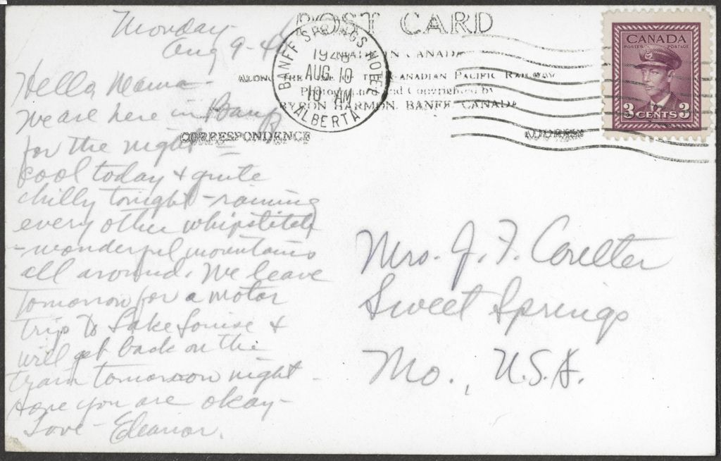 Back of Banff Springs Hotel Postcard from 1948 - Canada 3 cent stamp
