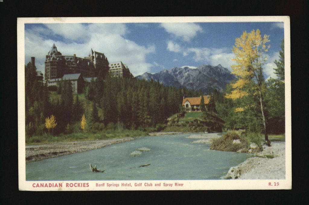 1915 Postcard of Banff Springs Hotel, Golf Club and Spray River