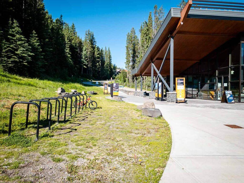 bike racks at Cave and Basin Historic site Banff