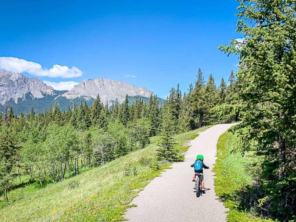 Easy bike ride on Bow Valley Paved Pathway - Kananaskis