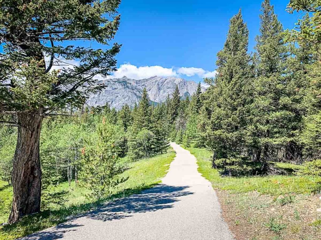 Bow Valley Paved Pathway with mountain views