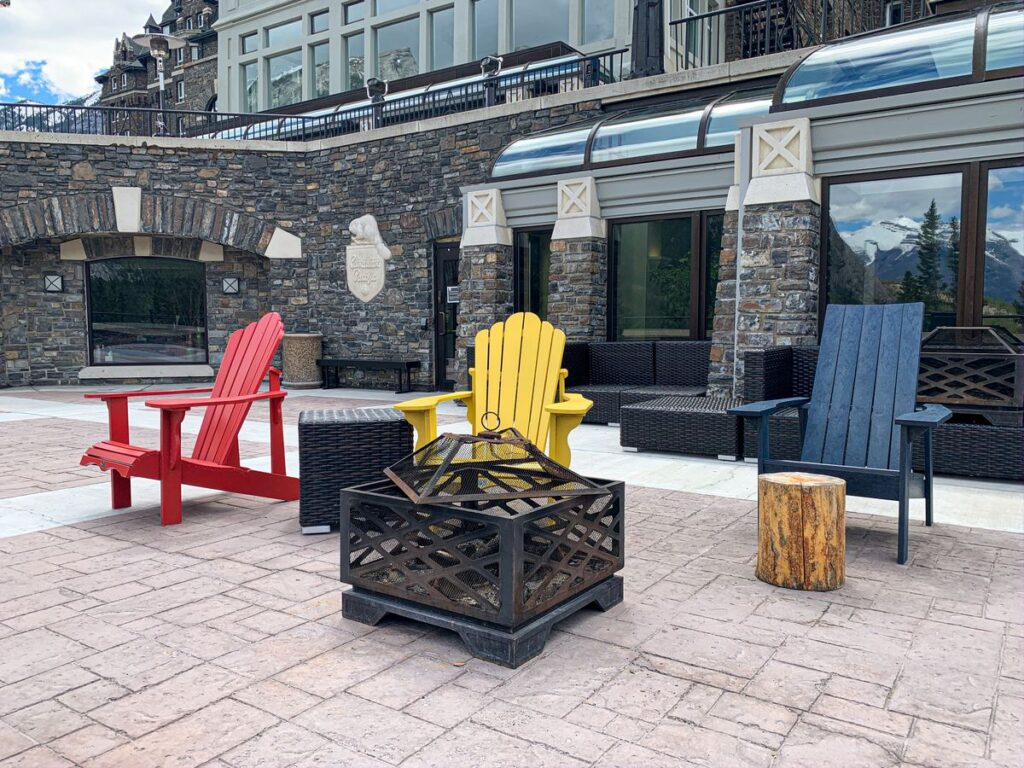Guests staying in the Fairmont Banff Springs Hotel enjoy many luxury amenities including campfire pit rentals