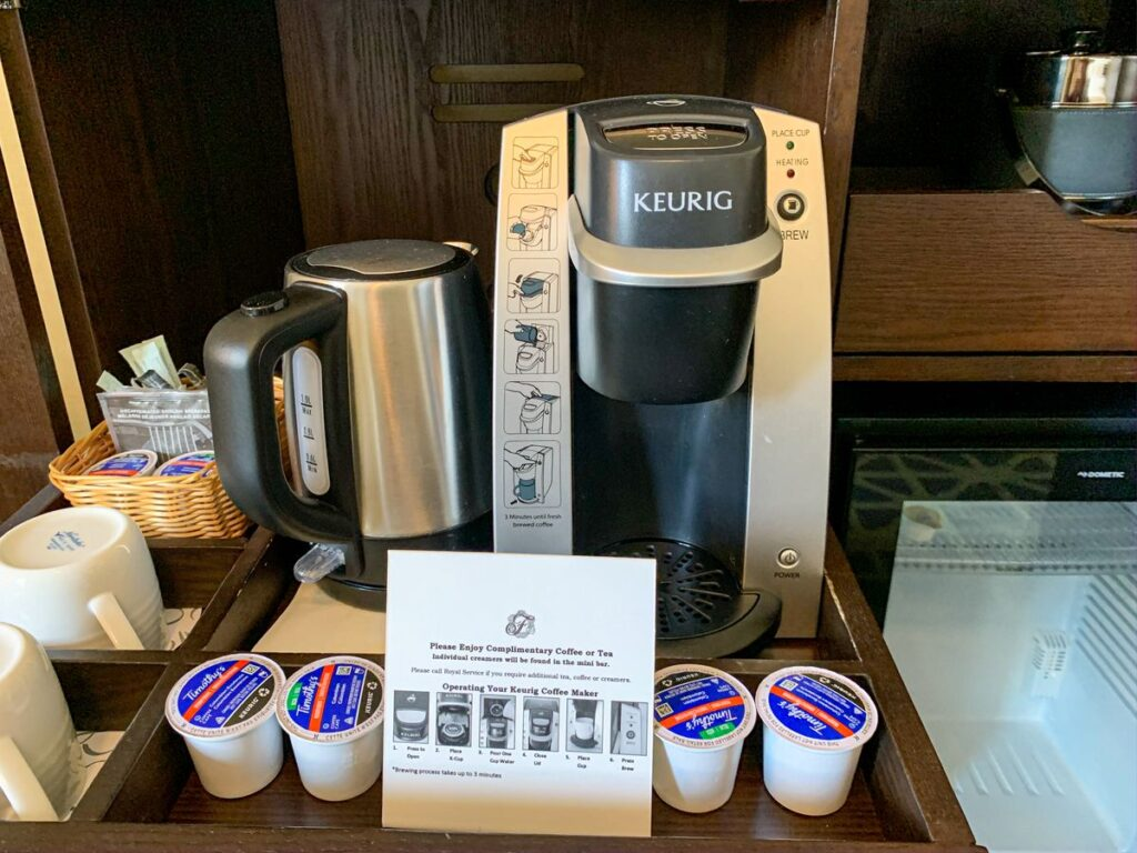 the cheapest room at the Banff Springs Hotel offers excellent in-room amenities, such as a Keurig coffee machine