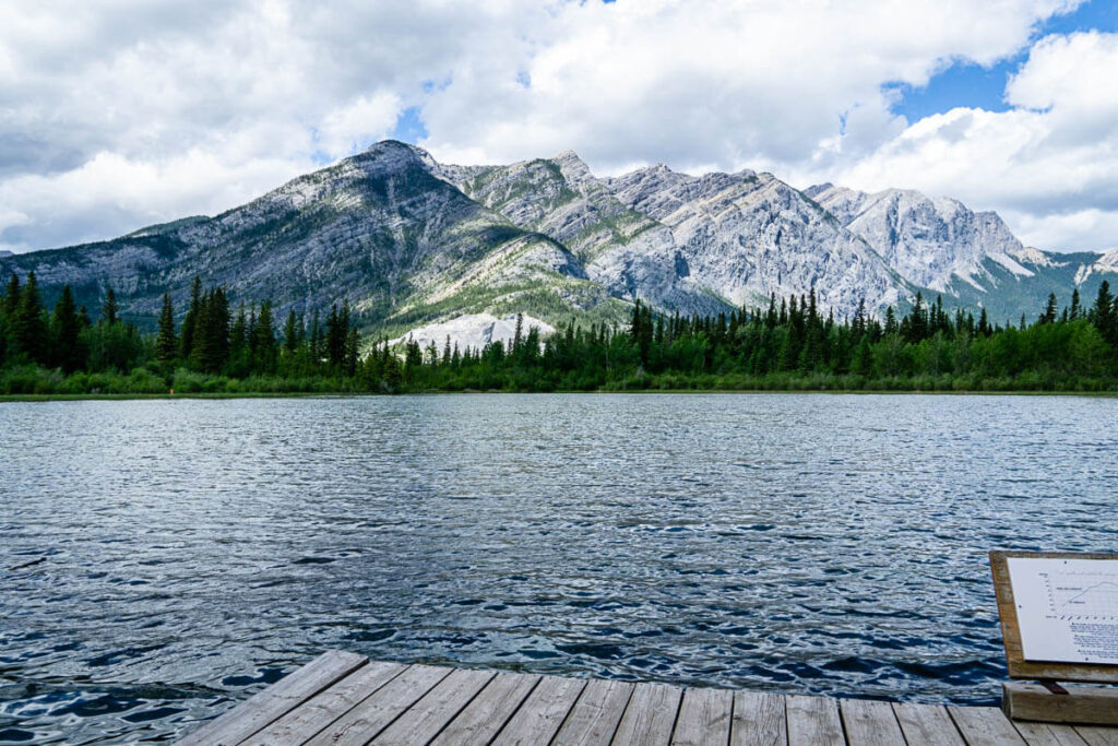 mountain views from dock on Many Springs Trail in Bow Valley Provincial Park Kananaskis