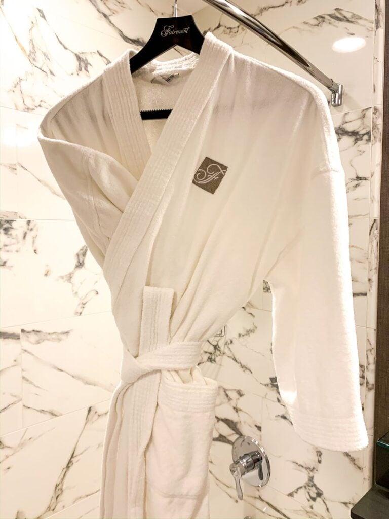 A comfy Fairmont bathrobe at the Banff Springs Hotel, Canada