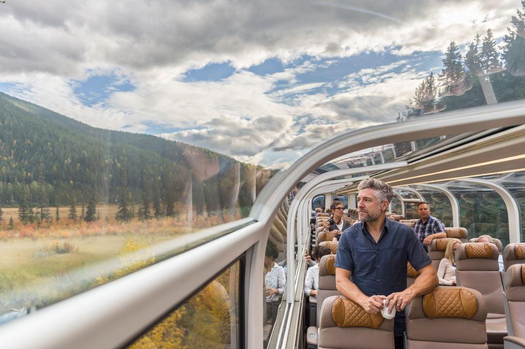 Taking a glass-dome train to Banff Canada