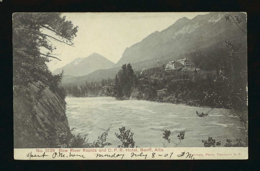A 1907 picture of the Banff Springs Hotel above the Bow River Rapids in Alberta, Canada