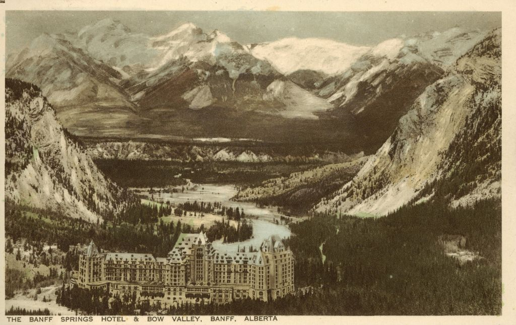 Historic Banff Springs Hotel Postcard - The Hotel and the Bow Valley - hand colored - 1925-1940