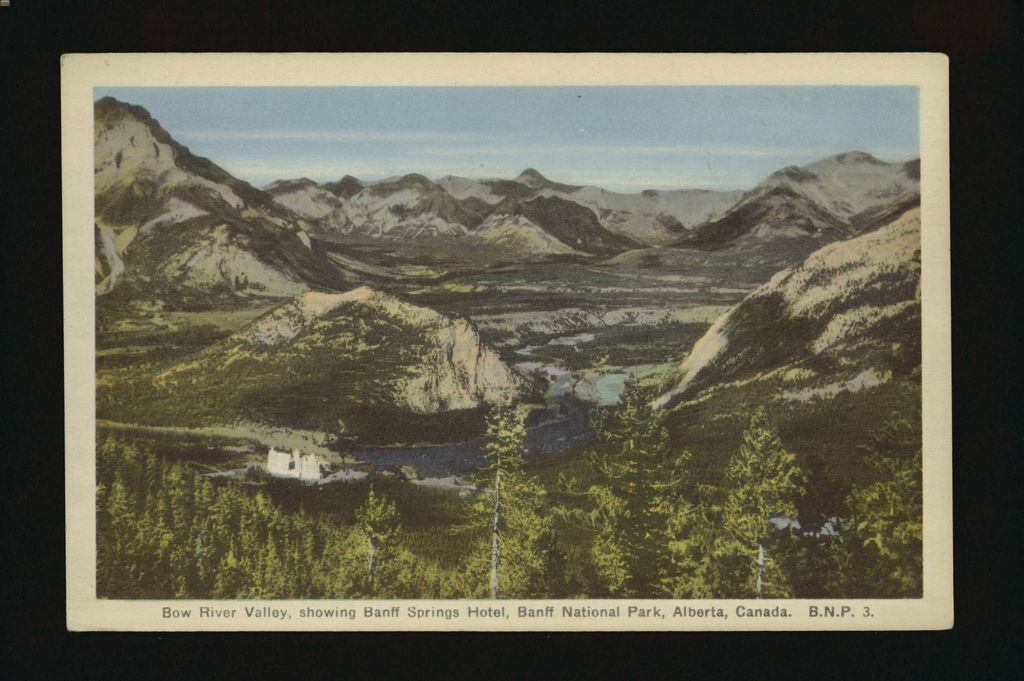 1940s image of Banff Springs Hotel, Tunnel Mountain, Bow River and Bow Valley