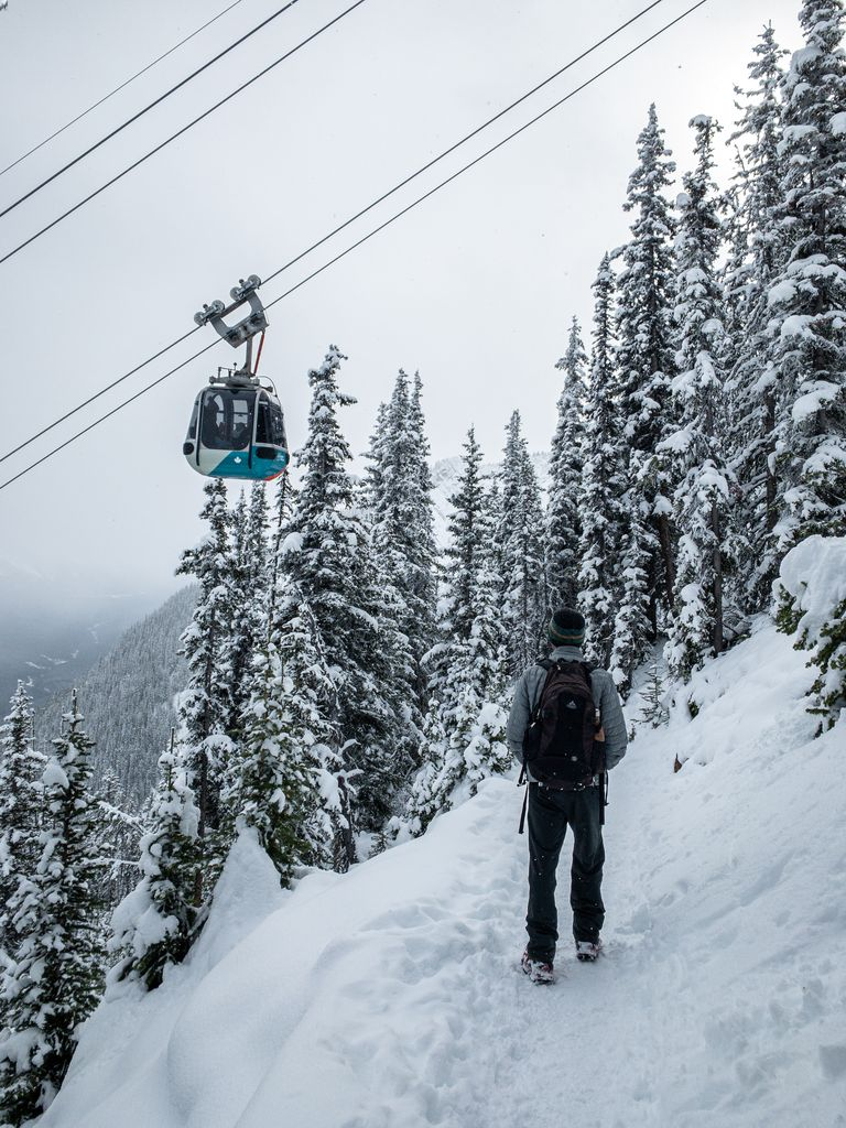 The hiking trail from the Banff Springs Hotel to the summit of Sulphur Mountain passes underneath the Banff Gondola