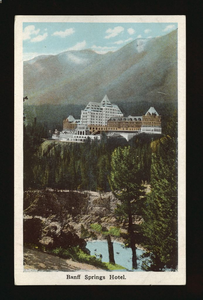 Colorful 1940s postcard featuring an image of the Banff Springs Hotel, Alberta, Canada