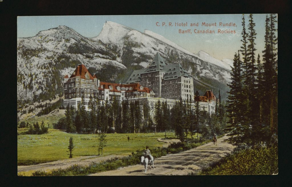 1910s postcard of CPR Banff Springs Hotel, Mount Rundle and horseback riders