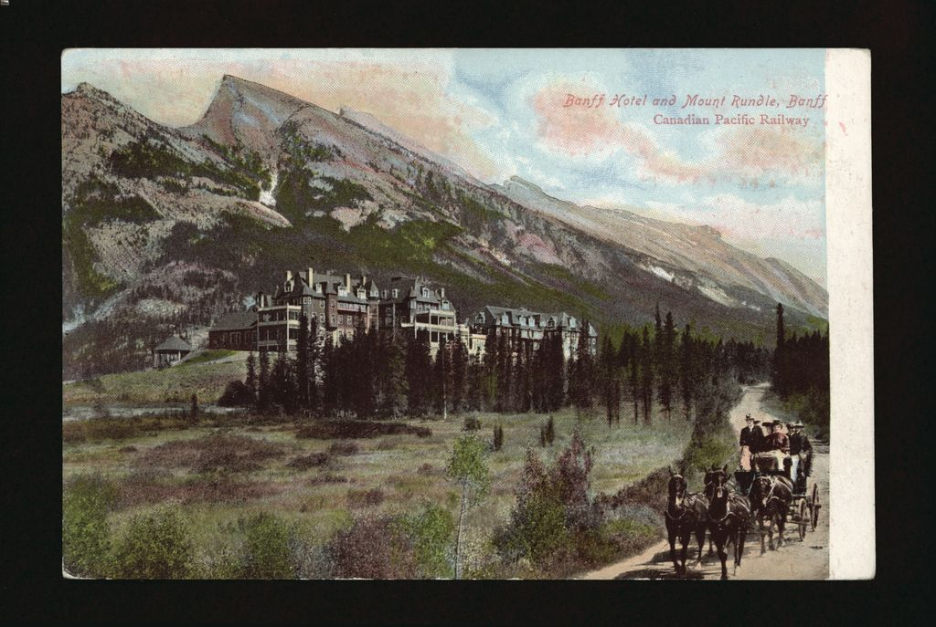 Historical image of Banff Springs Hotel with horse drawn carriage and Mount Rundle - circa 1905