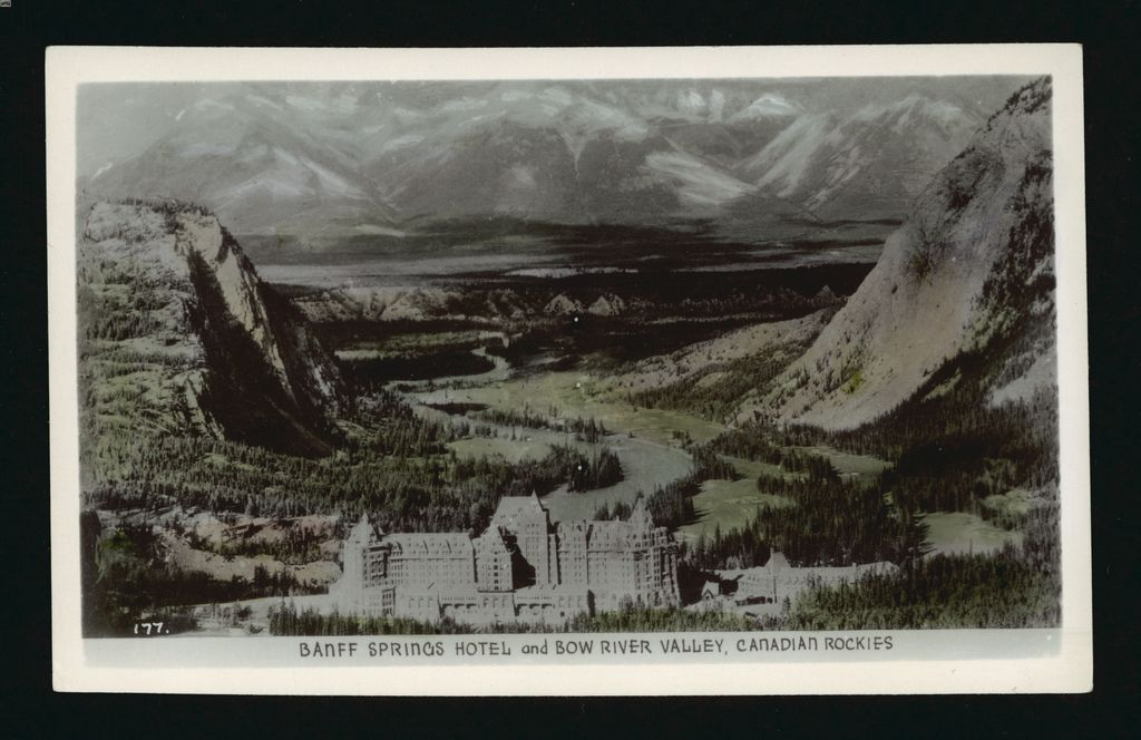 Historical Banff Springs Hotel images - postcard with view of Banff Springs Hotel and the Bow River Valley, Banff, Alberta (1940-1960)