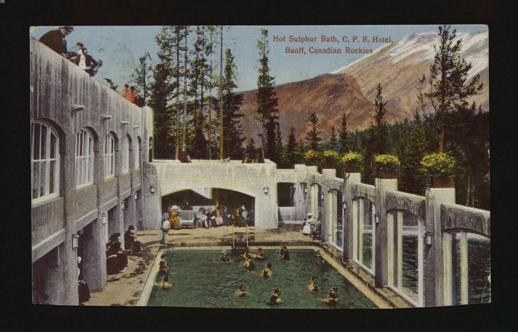 Image of the hot springs pool at the Banff Springs Hotel from 1925