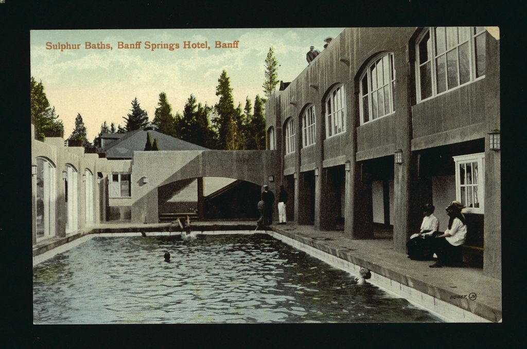 Guests of the Banff Springs Hotel enjoy the hot springs pools in 1915