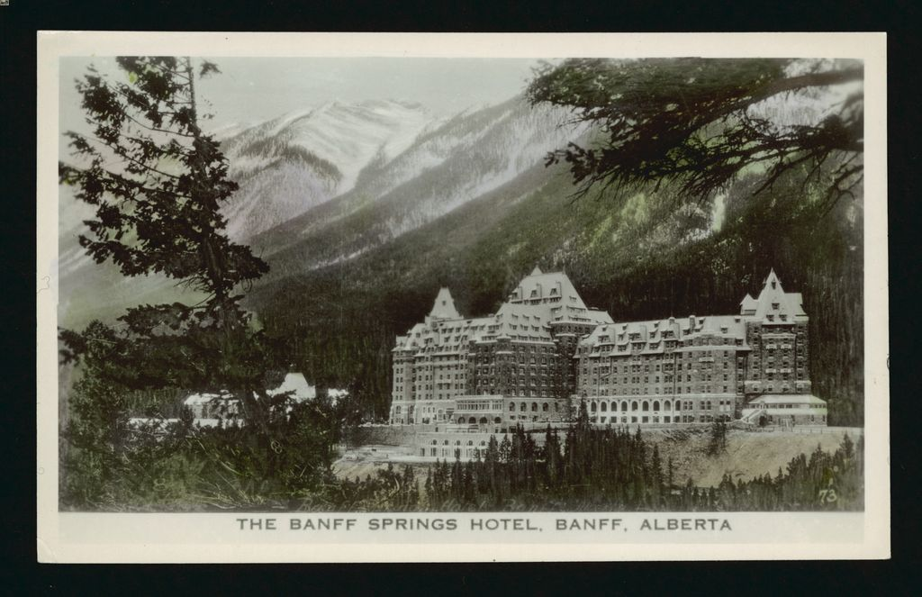 Picture of the Banff Springs Hotel taken from or near lookout point on Buffalo Street. Sulphur Mountain is behind. (circa 1940-1960)