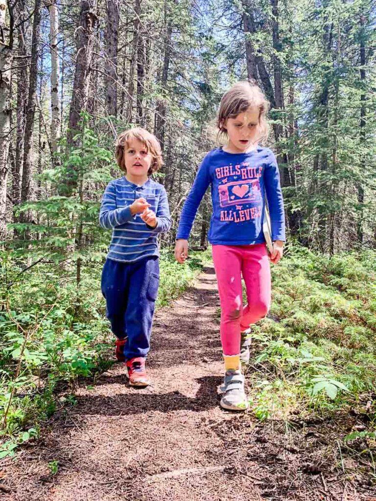 Kids hiking Middle Lake Trail