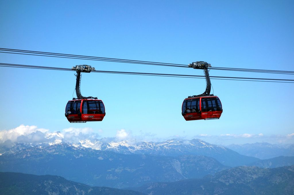 A gondola ride at Whistler resort on a tour from Vancouver to Banff
