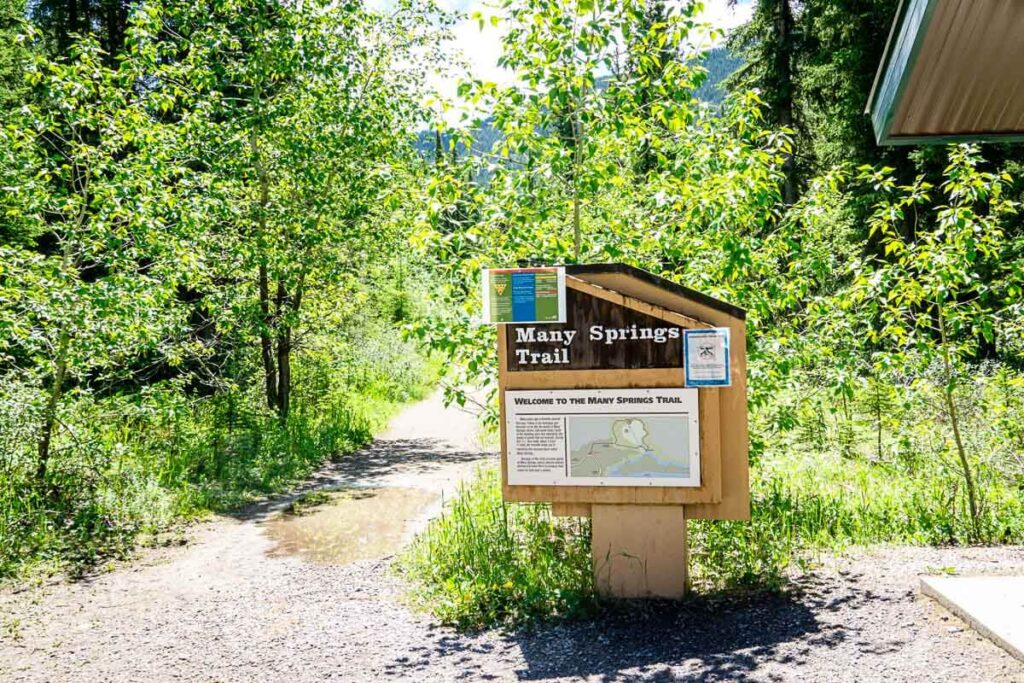 Many Springs trailhead sign