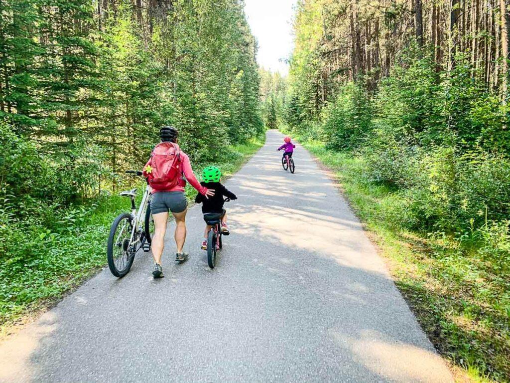 biking with kids to Sundance Canyon Banff