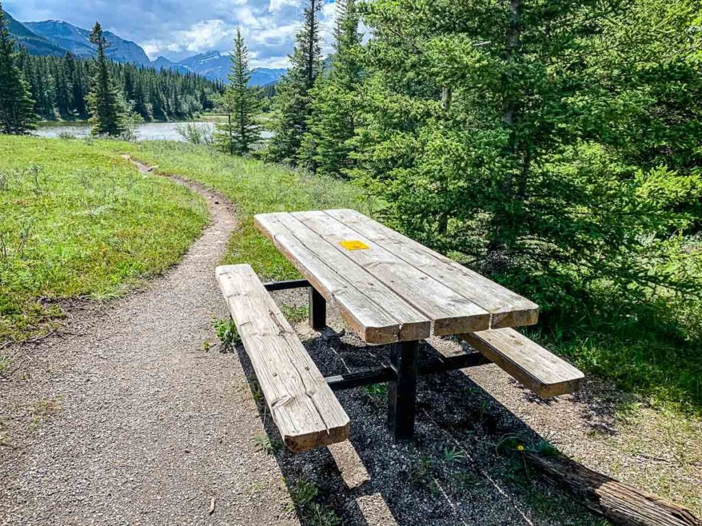 Picnic table at Middle Lake Day Use in Bow Valley Provincial Park