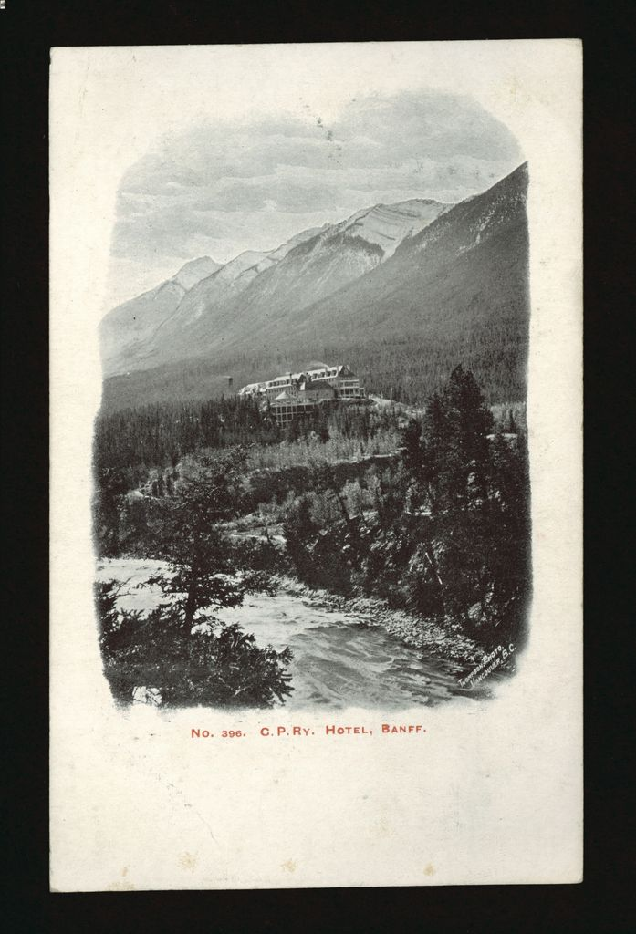 Historical image of Banff Springs Hotel and Bow River in Banff National Park, Alberta, Canada
