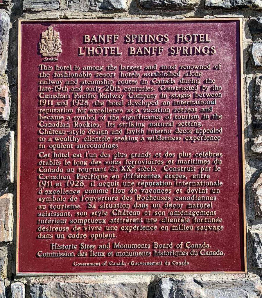 Banff Springs Hotel - National Historic Site Plaque