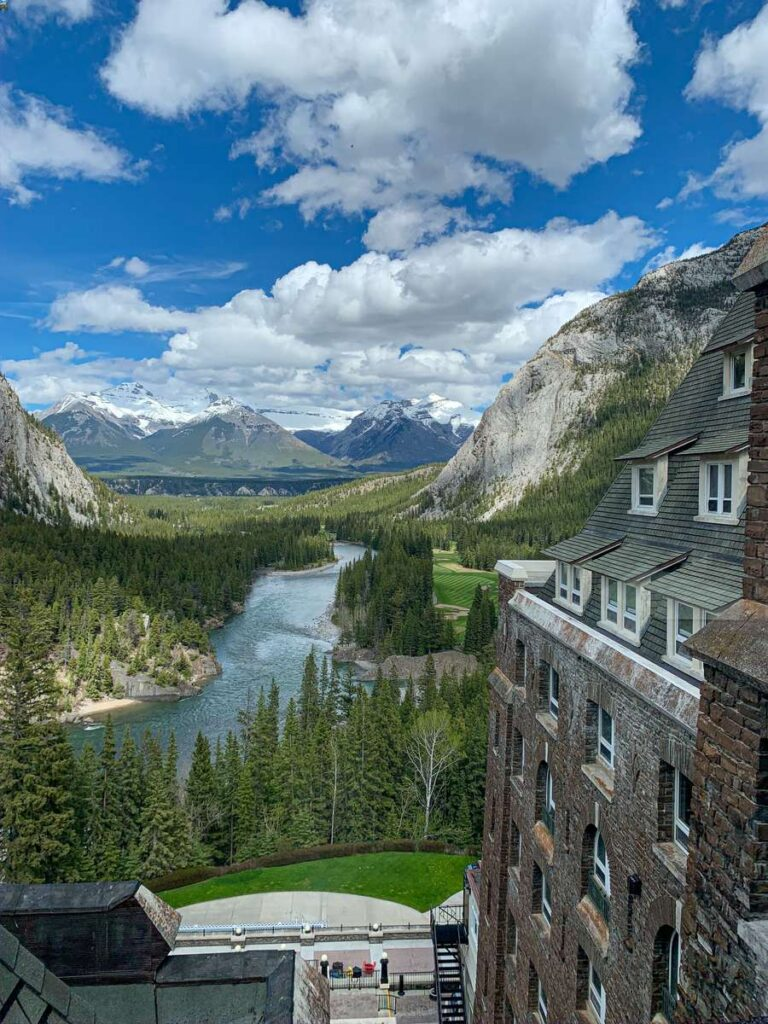 The incredible views of the Bow River and Mt. Inglismaldie are two of the many reasons to stay at the Banff Springs Hotel