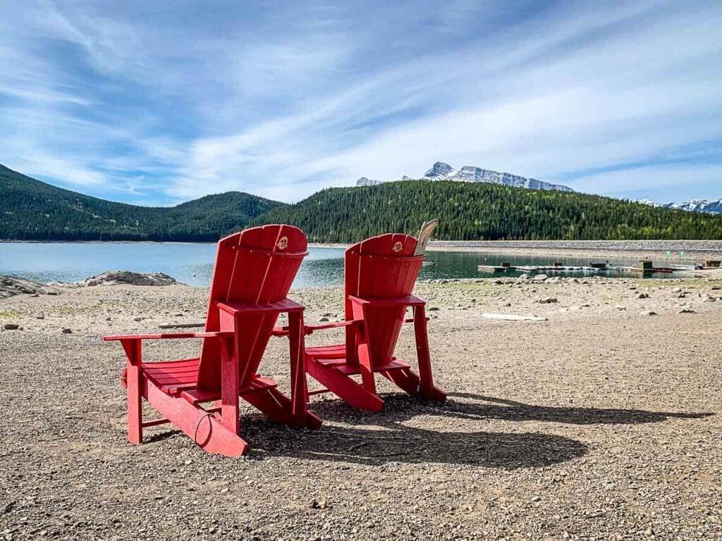 Red Chairs in Banff at Lake Minnewanka