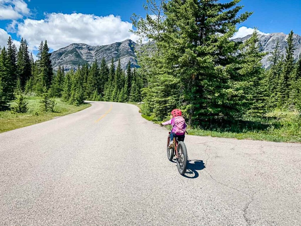 riding bikes from Bow Valley Campground to Montane Trail