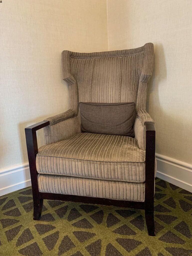 An elegant sitting chair in a Banff Springs Hotel Fairmont Room