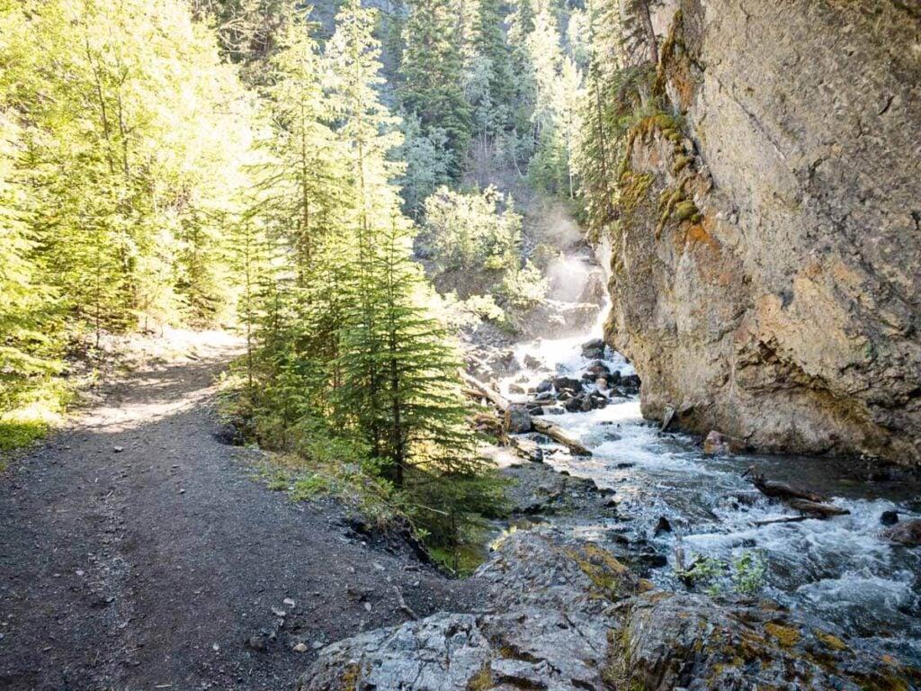 Sundance Canyon easy hike in Banff National Park
